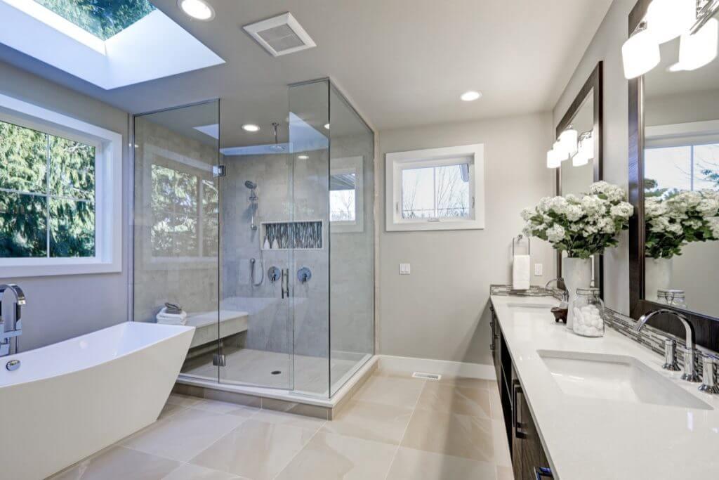 Modern White Small Bathroom by Sydney Style Kitchens